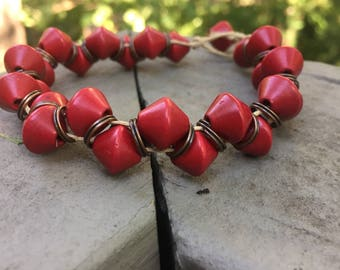 Red bead hemp bracelet, beaded bracelet, beach bracelet, bohemian bracelet, hemp bracelet, natural jewelry
