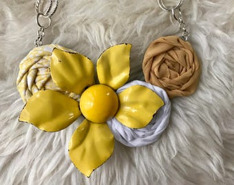 Yellow White Fabric Flower Statement Necklace with Vintage Flower Brooch, Bridesmaid Gift,Bridal Party Gift,Rolled Rosette,Summer Fashion
