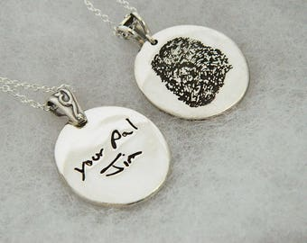 Handwriting Jewelry Double Sided Finger Print Pendant  in Memory