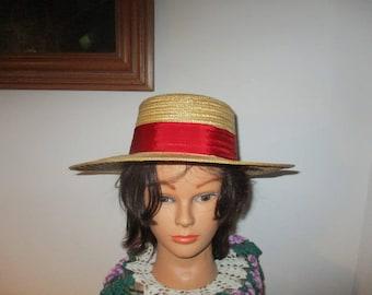 Women's Straw Boater Hat Skimmer Sailor  Quartet Hat
