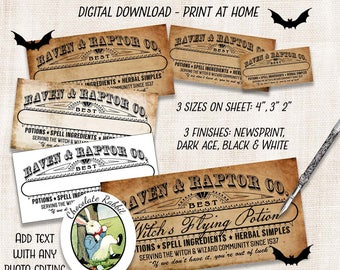 DIY Blank Potion Bottle Labels, Halloween Clipart, Apothecary Labels, Halloween Decorations, Printable Tags, Witch Spells, Vintage Labels