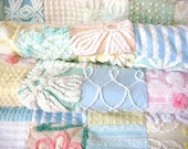 RESERVED LAYAWAY BALANCE for Connie ~ Pastel Rainbow ~ A Vintage Cotton Chenille Patchwork Quilt - Down Payment
