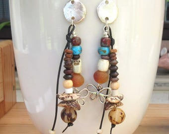 """Earrings hippies, tribal, boho with ethnic beads :  """"Flowery Amourettes ....."""""""