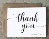 Personalized Thank You Cards - Wedding Thank You Notes - Black and White Thank Yous Script  - set of 10+