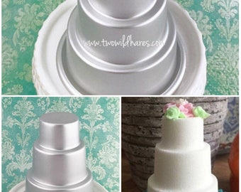 WHITE WEDDING CAKE, Bath Bomb Mold, 3 Tiered Cake, Metal, 3.25""