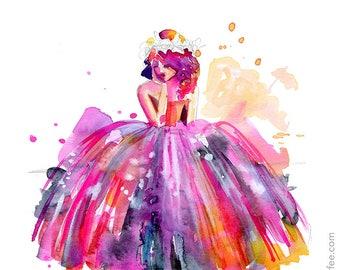 After The Ball - PRINT - fashion watercolor, fairytale art, Feminine Art, Girls Art, Princess ARt