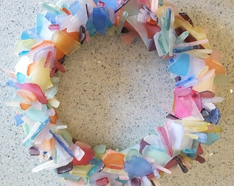Sea Glass Art Beach House Decor Wreath, Nautical Wall Decor Sea Glass Wreath, Beach Glass Wreath, Seaglass Wreath, Glass Art - Colorful Mix