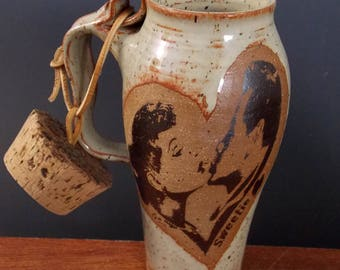 Stoneware Travel Mug With Cork  ~ Lucy And Desi Sweetie Design ~