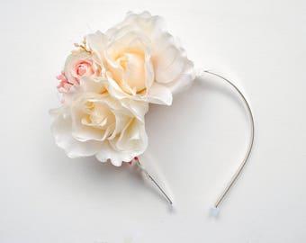 Blush Ivory Pink Roses Bridal Flower Headband, Shabby Chic Powder Vintage Headband, Champagne Weddings Headband, Roses Bridal Headpiece