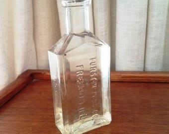 Vintage Bottle Furst McNess Freeport Illinois Cork Top Medicine Bottle Clear Glass 1920s