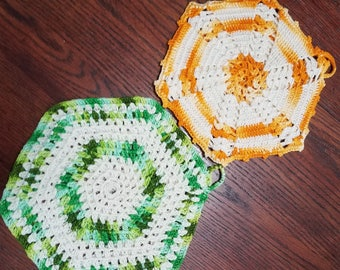Vintage Crocheted Potholders Orange Yellow Green Lime Variegated Six Sided Set of Two 1950s
