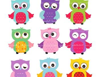 Summer Owl Clip Art // Summer Clip Art, Children Owls Clipart,Kids Birthday Owls Clip Art, Summer Owl, Bright color Owl,Instant download