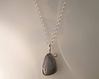 Gibeon Meteorite Damascus and Diamond Pendant 14k Rose Gold and Sterling Silver