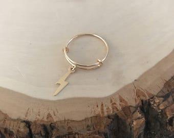 Adjustable 14k goldfilled Lightening Bolt Charm Ring. Size 6-7