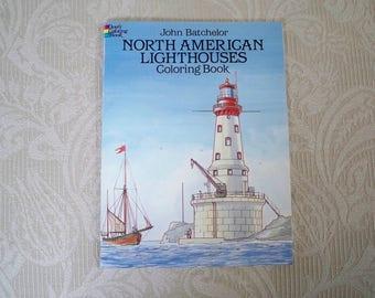 "Vintage Coloring Book ""North American Lighthouses"" 1995 Seashore Ocean Book"