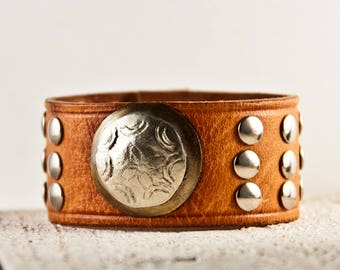 Tan Leather Jewelry, Brown Leather Cuffs, Leather Bracelets, Leather Wristbands, Leather Wrist Cuffs