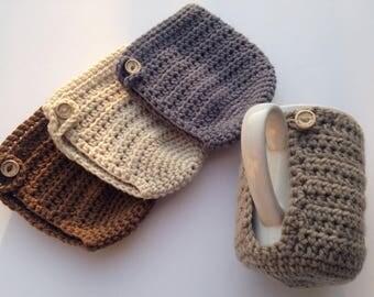 Crochet Mug Cozy, Set of Four, Coffee Mug Holder, Crochet Mug Warmer, Coffee Mug Warmer, Crochet Mug Hug, Coffee Mug Cover, Coffee Cozy