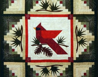 Winter's Majesty Finished Quilted Cardinal Wall Quilt OOAK