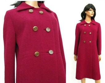 ON SALE Dark Berry Pink Wool Coat - Vintage 60s Calf Length Double Breasted Winter Coat Size Medium M Boucle Free Us Shipping