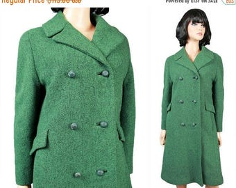 ON SALE Vintage Winter Trench Coat M Green Black Wool Tweed Long Jacket Double Breasted Free Us Shipping