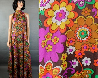Vintage Maxi Dress S 70s Long Brown Orange Pink Floral Chiffon Sleeveless Gown Free US Shipping