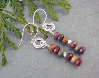 Nickel Free Earrings, Jasper Jewelry, Presents for Friends, Sterling Silver Drop Earrings, 925 Jewelry, Nickel Free Jewelry, Earthy Jewelry