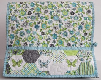 Quilted Sewing Machine Cover, Turquoise and Green, Floral with Butterflies