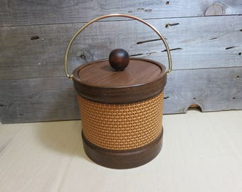 Vintage Kraftware Ice Bucket Rattan Wicker Textured Wrapped Retro Boho Barware