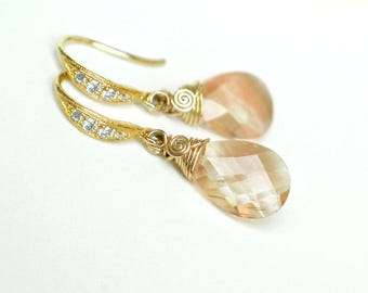 Oregon Sunstone Earrings | Pink Champagne Schiller Pear Briolettes | CZ Gold Vermeil Dangles | Small Earrings | Bridal Gift | Ready to Ship