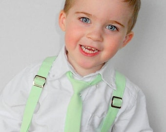 SALE Mint Tie and Suspender Set - Infant, Toddler, Boy                                  4 weeks before shipping