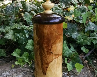 Wooden Box with Lid, Hand Turned Lidded Wood Box, Maple and Walnut Woods Wooden Box with Lid, Wood Canister, Sunset Turnings