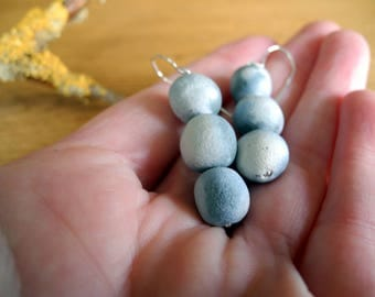 Dangle  earrings for all occasions - blue pit-fired beads on sterling silver hooks.