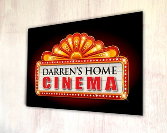 Personalised Home Cinema what's on A4 metal plaque picture home deco Kitchens **ANY NAME**
