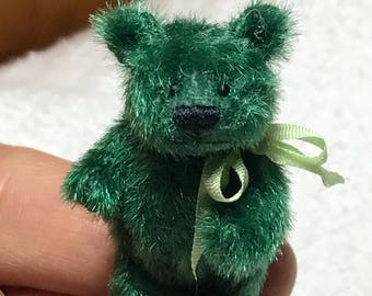 Miniature 1-1/2in. Handsewn DARK GREEN Teddy Bear