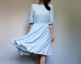Baby Blue Dress Pastel Dress Three Quarter Puff Sleeve Dress Floral Dress Vintage 70s Lace Dress - Small to Medium S M