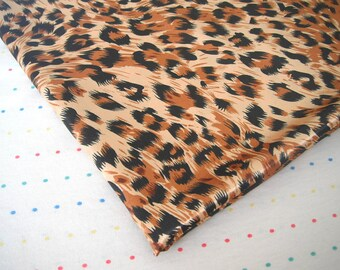 "Brown, Black and Tan Leopard Print Satin Lining Fabric, 60"" Wide, BTY"