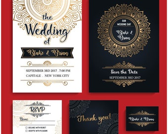 Black White and Gold Wedding invitation. Baroque, Anniversary Invite, flat invitation, Sweet 16, Bat Mitzvah Invitation 5x7, 2 sided