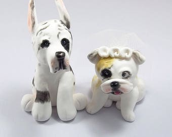 Great Dane, Harlequin Dane, Bulldog, Pet Cake Topper, Wedding Cake Topper, Dog Cake Topper, Personalized Cake Topper