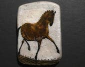reserved for Therites, Horse Jewelry: The Dark Bay Horse Pin. Original Ink Drawing on Polymer Clay. Sepia Brown, White and Black 4344