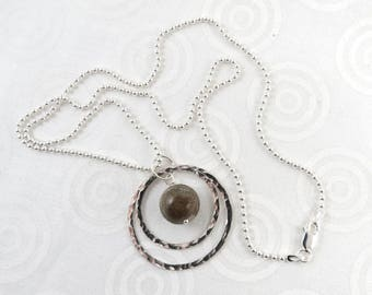 Michigan Petoskey stone pendant necklace with sterling silver chain N2434