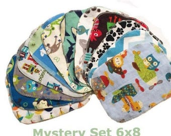 On Sale Sale - Mystery Set - 6x8 Sweet Bobbins Cloth Wipes Starter Set of 12 wipes -  Double Layer Flannel  - 6x8