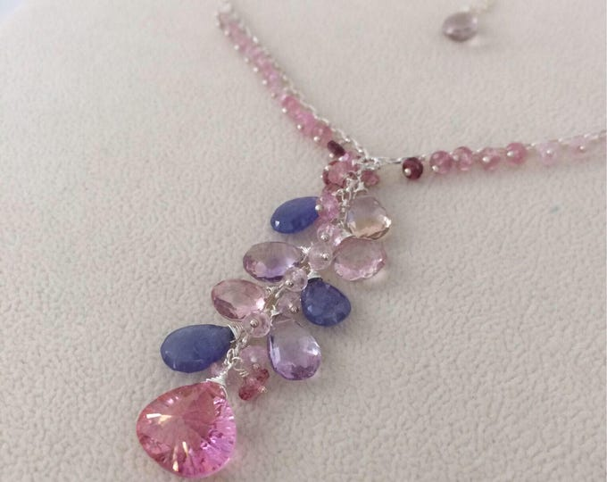 Semiprecious Gemstone Pendant Necklace in Sterling Silver with Mystic Pink Topaz, Tanzanite, Ametrine, Mystic Pink Quartz, Pink Tourmaline