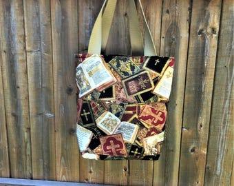 Tote, Bible Bag, Handmade Bag, Holy Bible Fabric Bag, Christian Tote, Black and Gold Cotton Fabric, Jesus and Crosses Bag, Christian Gift