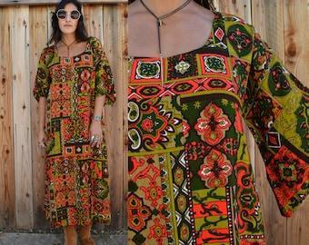 Vintage 70s BELL SLEEVE Maxi Dress CAFTAN M L