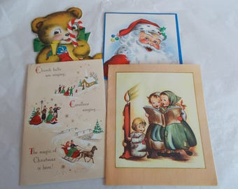 Vintage Used Scrapbook Christmas Greeting Cards Lot