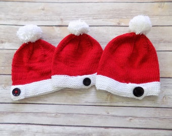 Baby Santa Hat, Knit Christmas Beanie, Red Baby Hat, Baby Beanie, Photography Prop, 0-3, 3-6