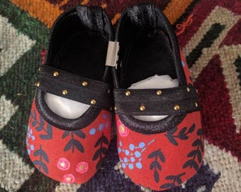 Rifle Paper Co/ Handmade Baby Shoes/ Floral/ Leather/ Mary Janes/ Fall/ Red/ Gold