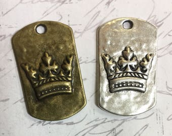 2 Antique Silver or Antique Bronze Brass Crown Dog Tag Pendant 28 x 17mm Bohemian Jewelry Supplies Altered art Supply Earring Components