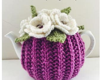 Hand knit Floral Tea Cosy - in Pure Wool - Size Small - fits 1-2 cup teapots