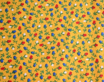 Vintage Fabric - Petite Red and Blue Floral on Yellow - 33 x 35 Plus More